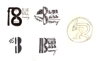 Exploratory concept thumbnails for the Blue Ball logo