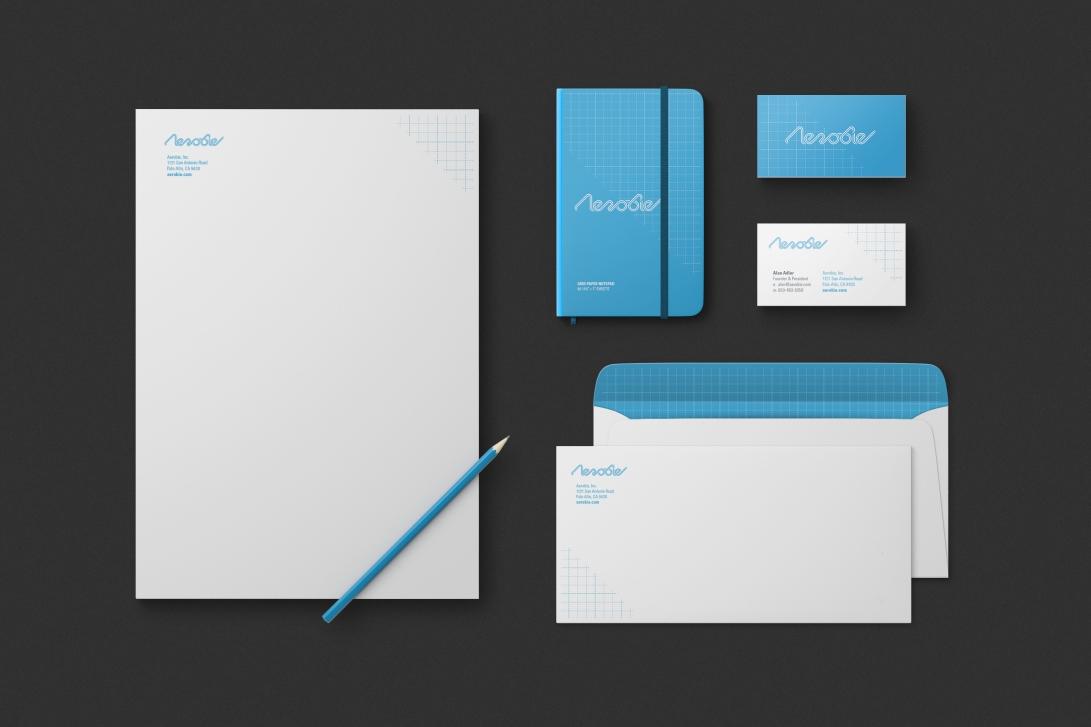 aerobie-rebrand-stationery-set-mockup